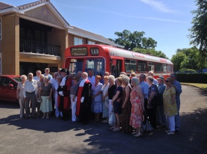 Oure passengers with 5956 at the RIBI head office in Alcester with the High Baliff