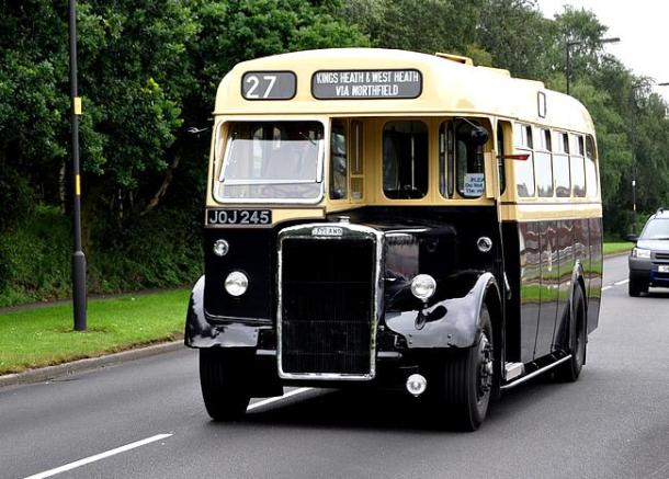 Birmingham City Transport's Leyland PS1 single deck bus no 2245 now in preservation at Wythall Transport Museum. Shown here with the route number 27 which it worked for most of its life. The 27 ran from Kings Heath through Bournville to Northfield. It was the tunnel under the railway & canal in Bournville that meant only single deck buses could work the route.