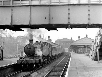 Acocks Green Station on 25 May 1957 with GWR 2-6-2T 4108 hauling a local train from Moor Street to Leamington Spa.