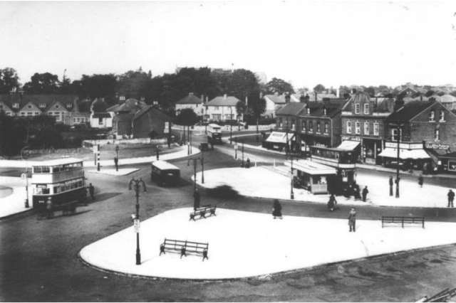 Acocks Green Village in 1932 showing the tram terminus in the centre of the traffic roundabout.