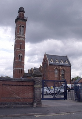 Edgbaston Waterworks Tower. The buildings were designed by John Henry Chamberlain (not a relation of Joseph Chamberlain) around 1870. The engine house, boiler house, and chimney are Grade II listed buildings. Despite the close proximity to Edgbaston Reservoir there is no current or historical connection of the water. This waterworks manages domestic water supply whereas the reservoir was built to feed the canal system.
