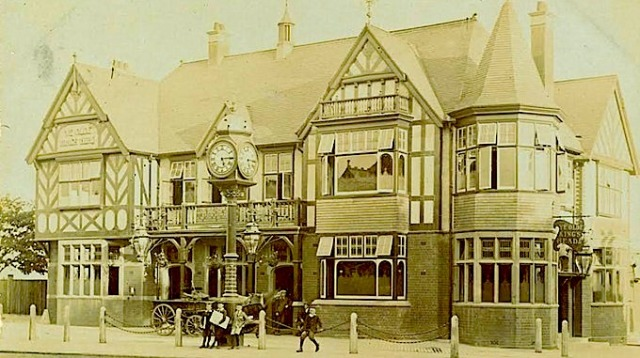 The Kings Head Clock in its original location outside of the pub.