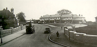 Pineapple Bridge after being widened in October 1930, the church of St Mary Magdalen can be seen on the left, the bus going over the bridge was an AEC 504.