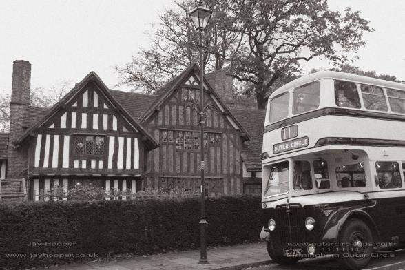 "Selly Manor with the bus that we used for the original ""Outer Circle Historic Bus Tour' on 11-11-11. [With thanks to Jay Hooper]"