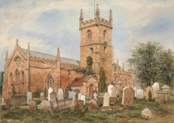 Watercolour of St Mary's Parish Church Handsworth [Birmingham Museums and Art Gallery]