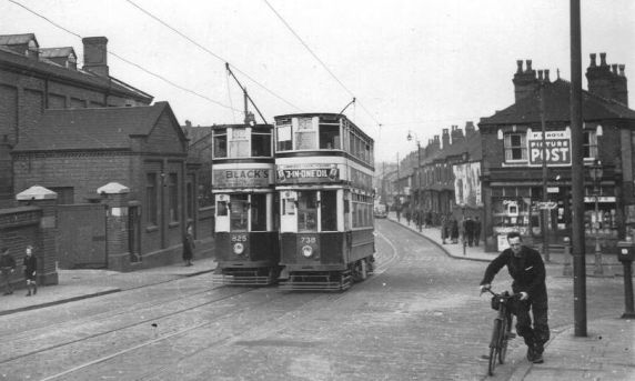 Tram 738 & 825 on Pershore Road at junction with Fordhouse Lane. The shop on the right is where the runaway tram came to rest in 1942.