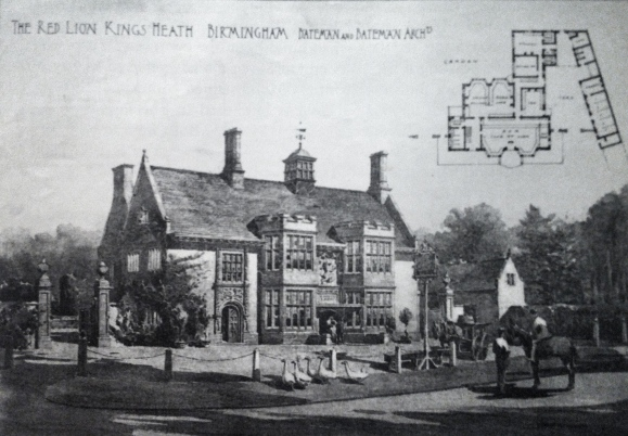 The bucolic scene of a wandering gaggle of geese and a man on horseback envisaged by CE Bateman the architect in his architectural sketch of Ye Olde Red Lion. In the early 1890s, the Priory Trust owners of the land in this area asked Bateman to lay out a middle class suburb on its land, which at the time would have been at the very edge of Birmingham. The houses were designed in a variety of Arts and Crafts styles.